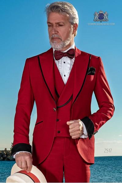 Traje italiano rojo algodón con perfil en contraste negro