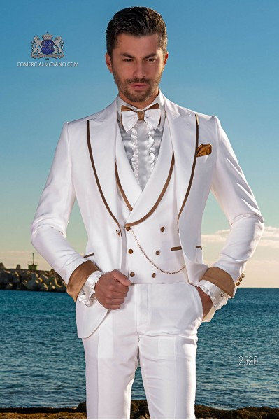 Italian bespoke white suit with gold satin lapels