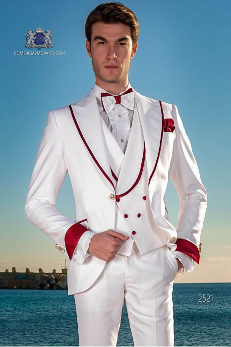 Italian bespoke white suit with red satin lapels