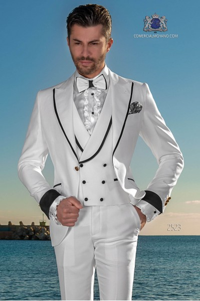 Italian bespoke white suit with black satin lapels