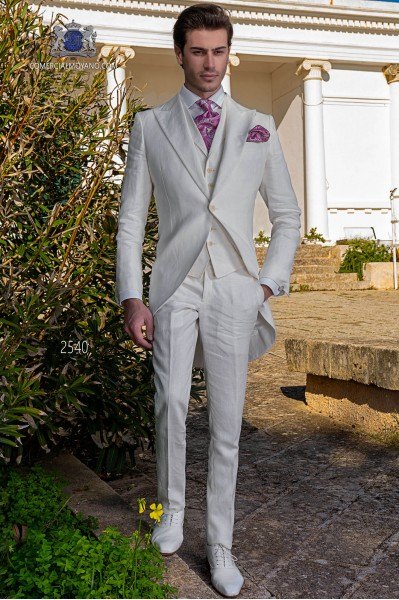 Italian stitched bespoke pearl grey metalized linen suit