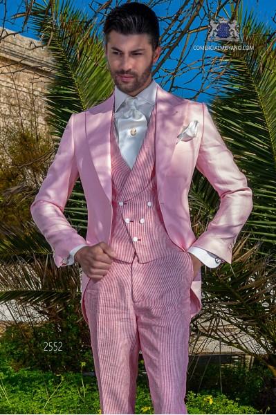 Chaqué - Levita de novio rosa en tejido de lino