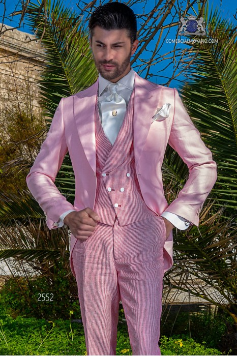 "Light pink morning suit ""slim"" cut"
