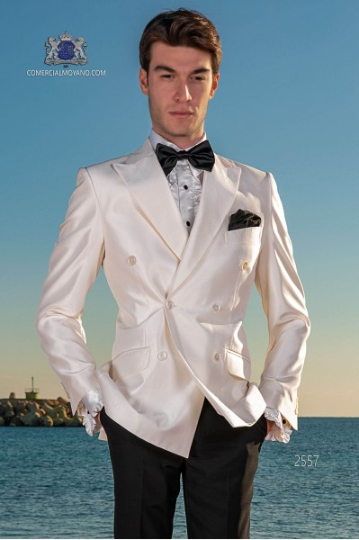 Bespoke white shantung double breasted jacket