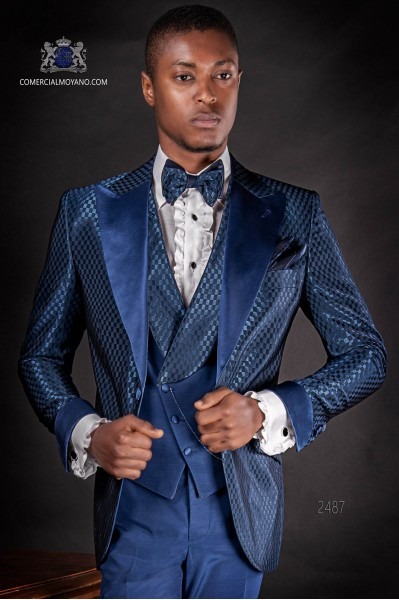 Italian blue monochrome design fashion suit