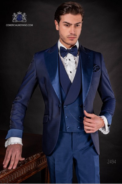 Italian bespoke suit royal blue in microdesign fabric