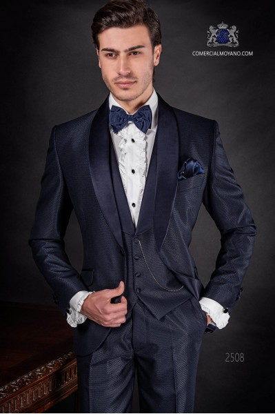 Italian bespoke blue tuxedo with satin shawl collar