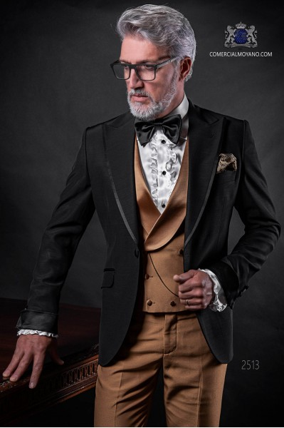 Italian bespoke black wedding suit coordinated with golden waistcoat and trousers