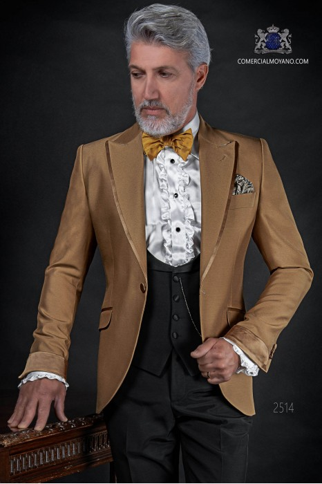 Italian bespoke golden wedding suit coordinated with black waistcoat and trousers