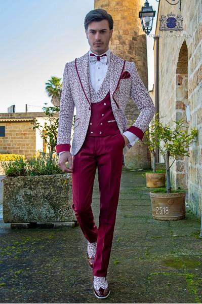 Italian wedding suit Slim stylish cut. Special burgundy printed fabric
