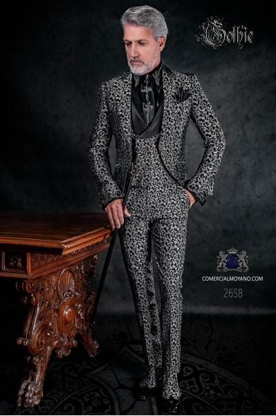 Traje levita de época en tejido jacquard negro y plata con cristales strass en las solapas