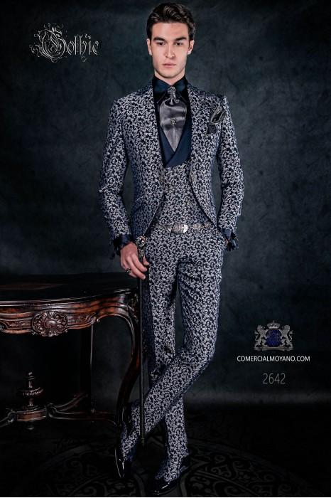 Traje levita de época en tejido jacquard azul y plata con cristales strass en las solapas