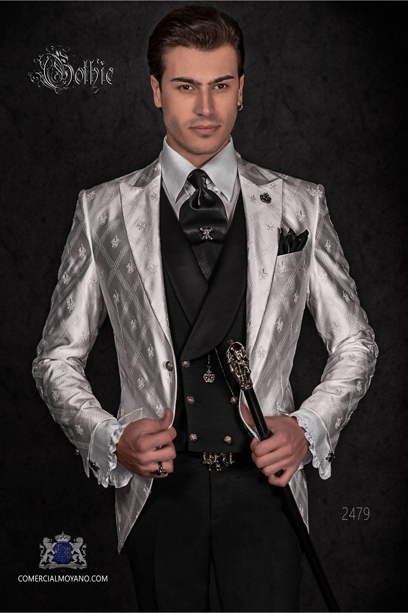Gothic frock coat made of white satin with fleur de lis embroidery