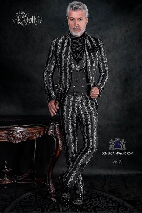 Vintage frock coat in black-silver floral brocade fabric, Mao collar with black rhinestones