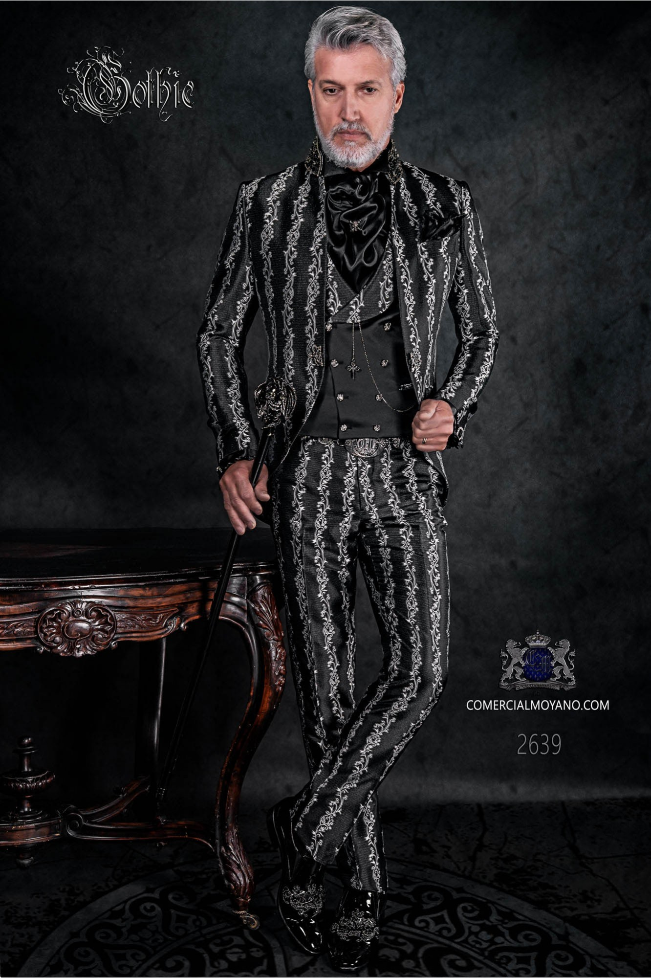 Gothic frock coat black silver brocade with mandarin crystal collar