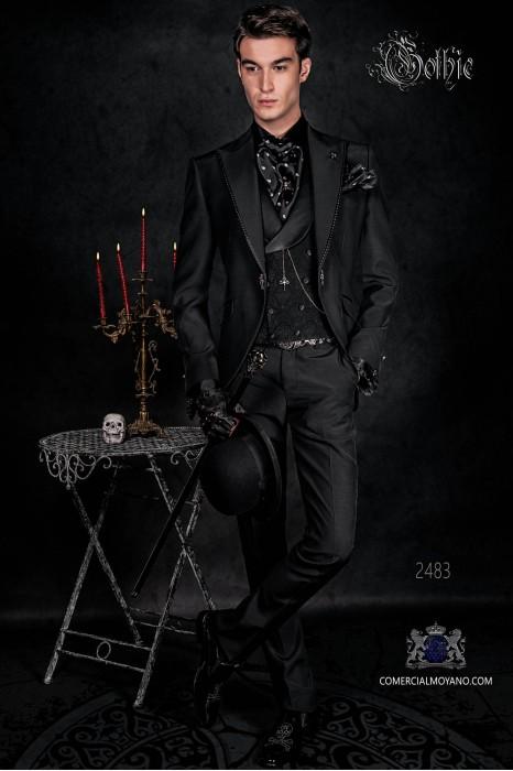 Vintage costume frock coat in black plain fabric.