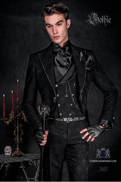Traje de novio frac en tejido jacquard negro con cristales strass en las solapas