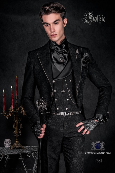 Baroque black jacquard groom tailcoat with crystal rhinestones on the lapels