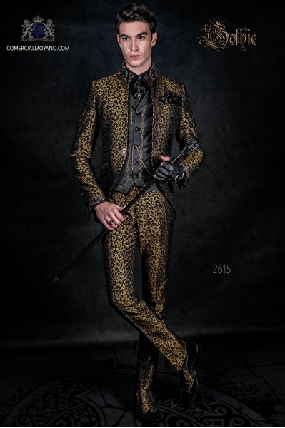 Vintage Men wedding frock coat in black and gold brocade fabric with Mao collar with black rhinestones