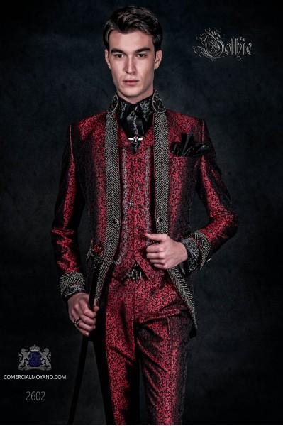 Traje de novio barroco, levita vintage en tejido brocado rojo con cuello Mao con pedrería negra