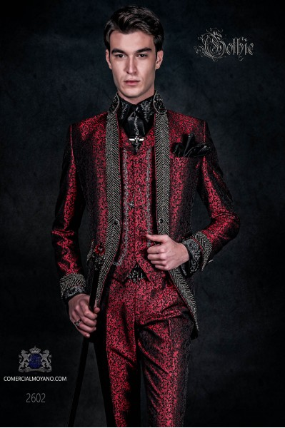 Vintage Men wedding frock coat in red brocade fabric with Mao collar with black rhinestones