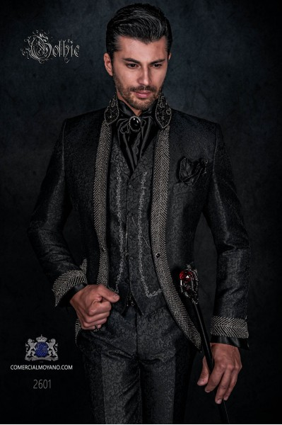 Baroque wedding suit, vintage wedding frock coat in black brocade fabric with Mao collar with black rhinestones