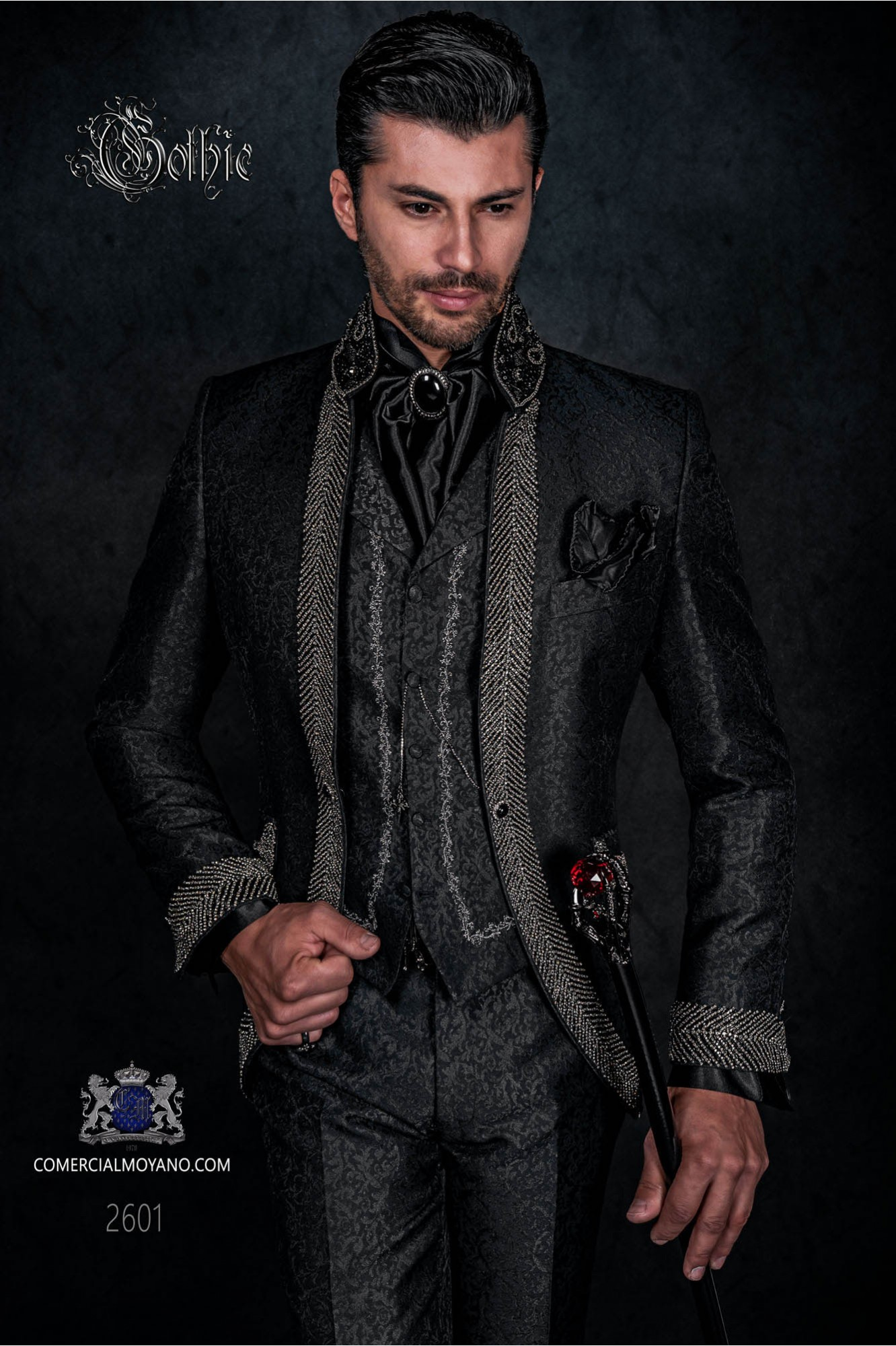 Gothic frock coat brocade black suit with Mao collar and rhinestones