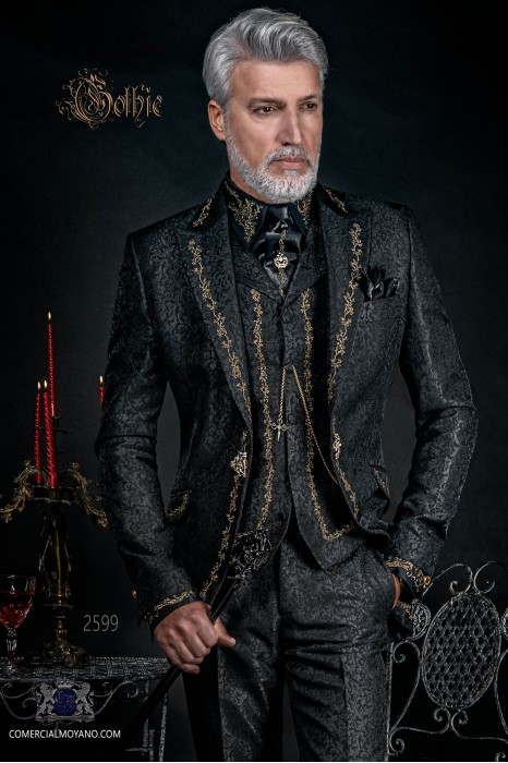 Baroque groom suit, vintage frock coat in black jacquard fabric with golden embroidery and crystal clasp