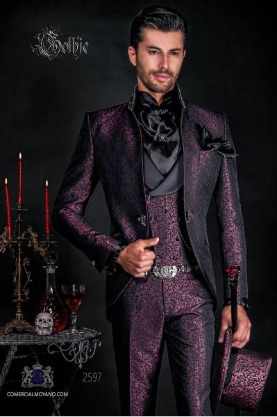 Traje de novio levita vintage en tejido brocado malva-negro con cuello Mao con pedrería negra