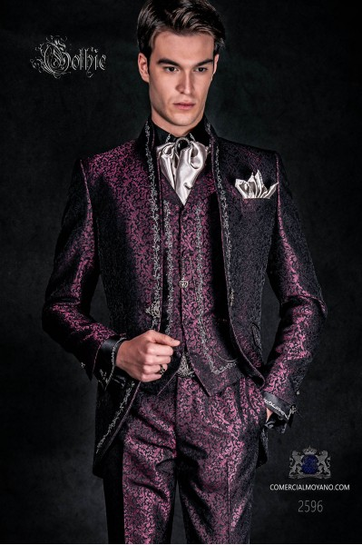 Baroque groom suit, vintage mao collar frock coat in purple jacquard fabric with silver embroidery and crystal clasp