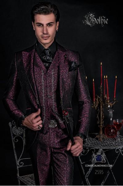 Groomswear Baroque. Vintage frock coat burgundy jacquard fabric crystal rhinestones on the lapels.