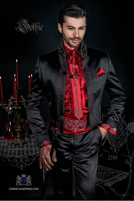 Baroque black satin tail coat with red embroidery, crystal rhinestones on Mao collar and crystal brooch