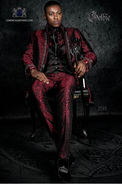 Baroque groom suit, vintage Napoleon collar frock coat in red jacquard fabric with silver embroidery and crystal clasp