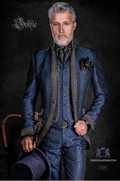 Traje de novio , levita vintage cuello mao en tejido jacquard azul con pedrería negra