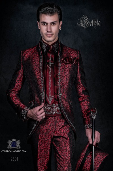 Baroque groom suit, vintage mao collar frock coat in red jacquard fabric with silver embroidery and crystal clasp