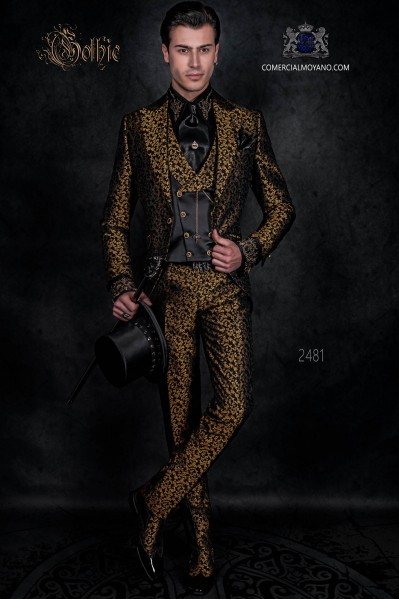 Traje levita de época en tejido jacquard negro y dorado