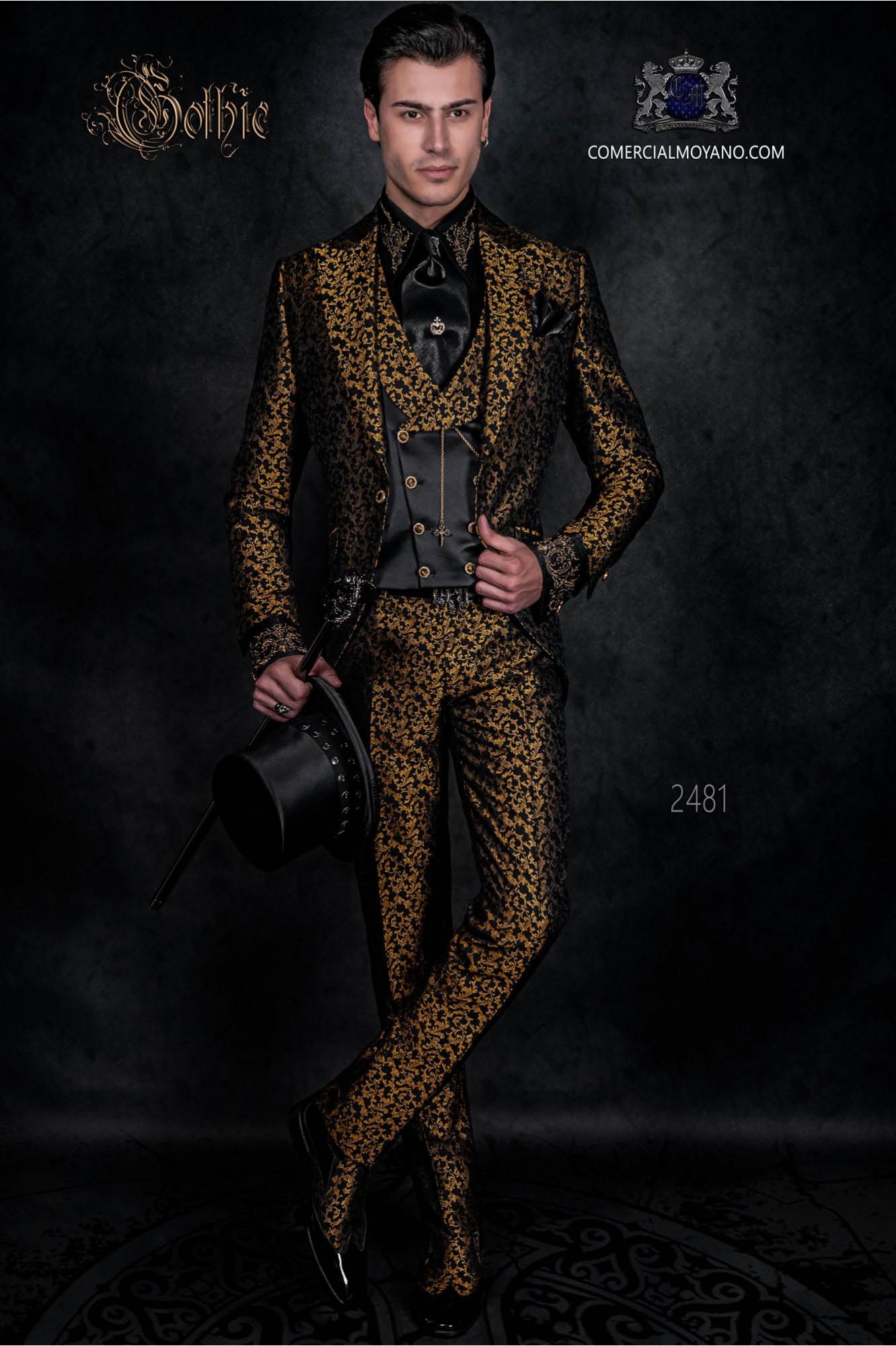 Traje de época estilo gótico brocado negro y oro redingote de novio