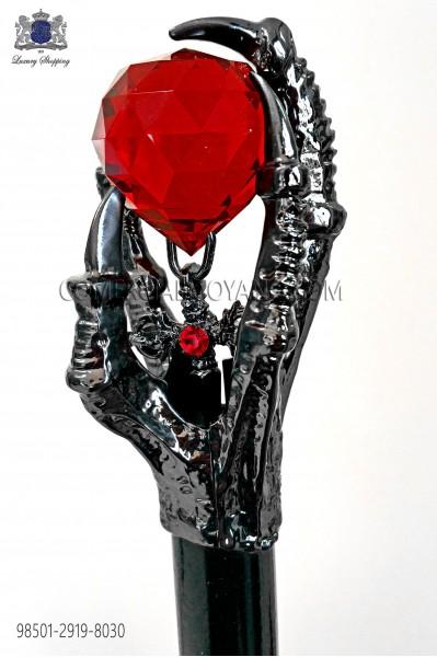 Bastón empuñadura con cristal rojo