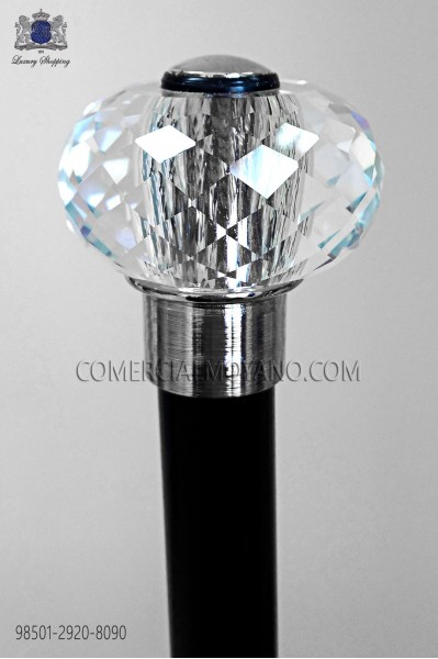 Black cane with hard glass hilt