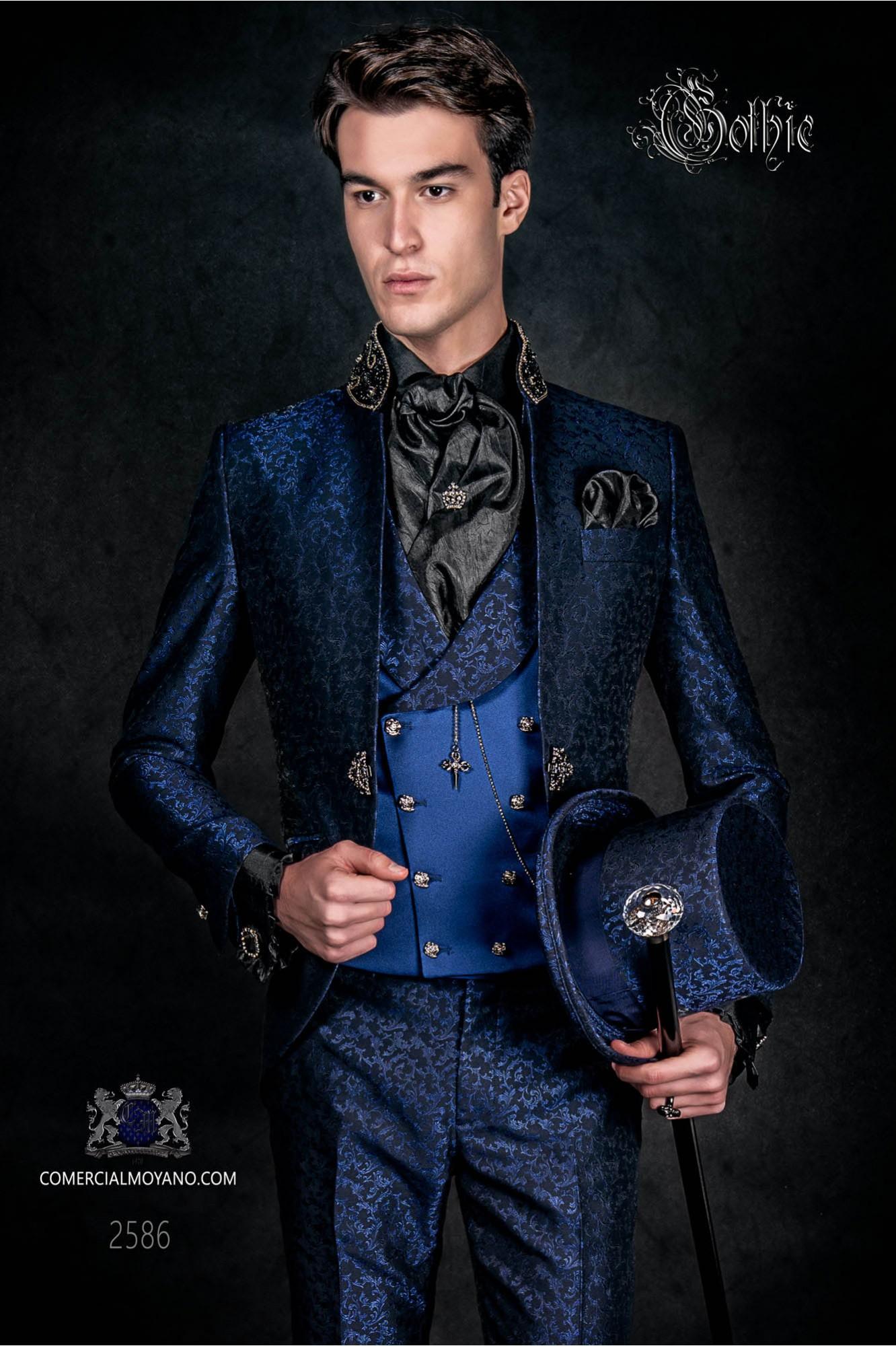 Traje de novio levita vintage en tejido brocado azul-negro con cuello Mao con pedrería negra