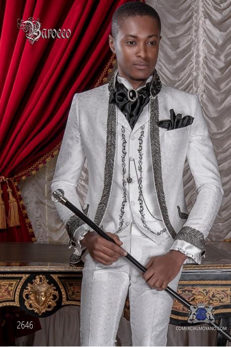 Baroque wedding suit, vintage frock coat in white floral brocade fabric, Mao collar with black rhinestones