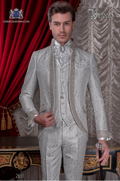 Baroque wedding suit, vintage Mao collar frock coat in pearl gray floral brocade fabric with rhinestones