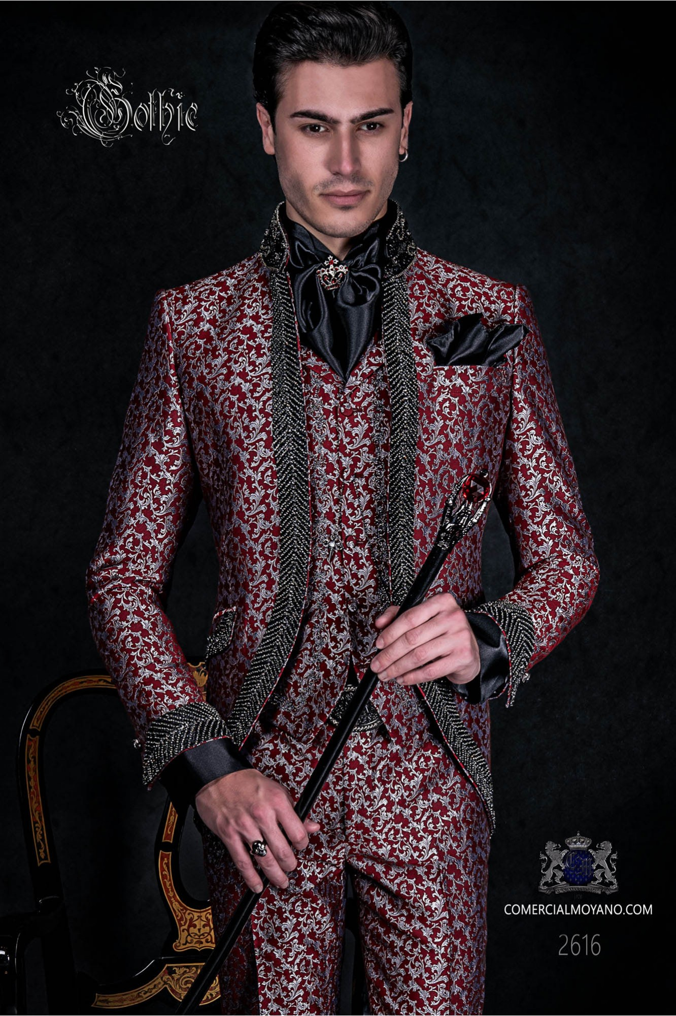 Vintage Men wedding frock coat in red and silver brocade fabric with Mao collar with black rhinestones