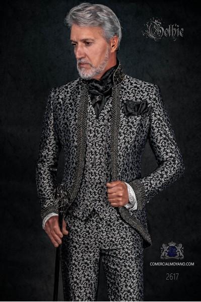 Traje de novio barroco, levita vintage en tejido brocado negro y plata con cuello Mao con pedrería negra