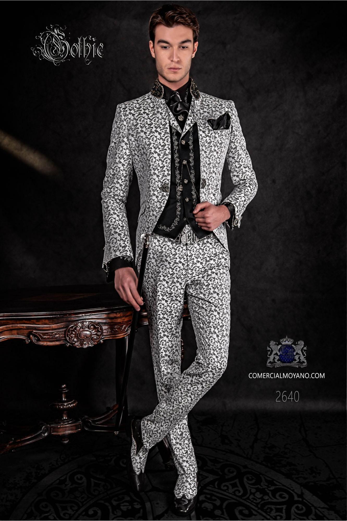 Traje de novio levita vintage en tejido brocado negro y blanco con cuello Mao con pedrería negra