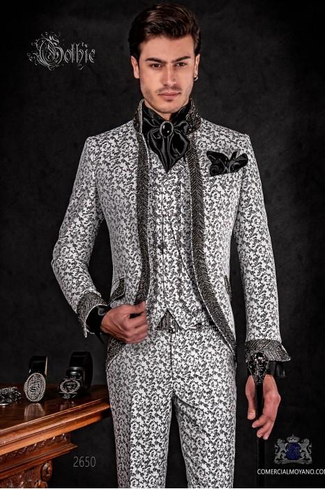 Traje de novio barroco, levita vintage en tejido brocado negro y blanco con cuello Mao con pedrería negra