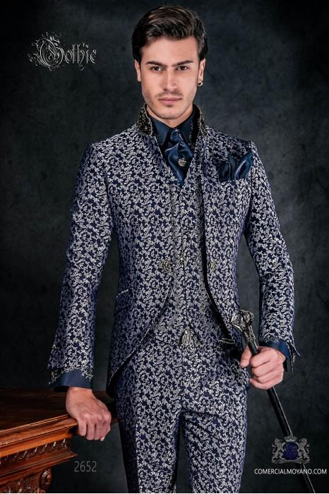 Traje de novio levita vintage en tejido brocado azul y plata con cuello Mao con pedrería negra