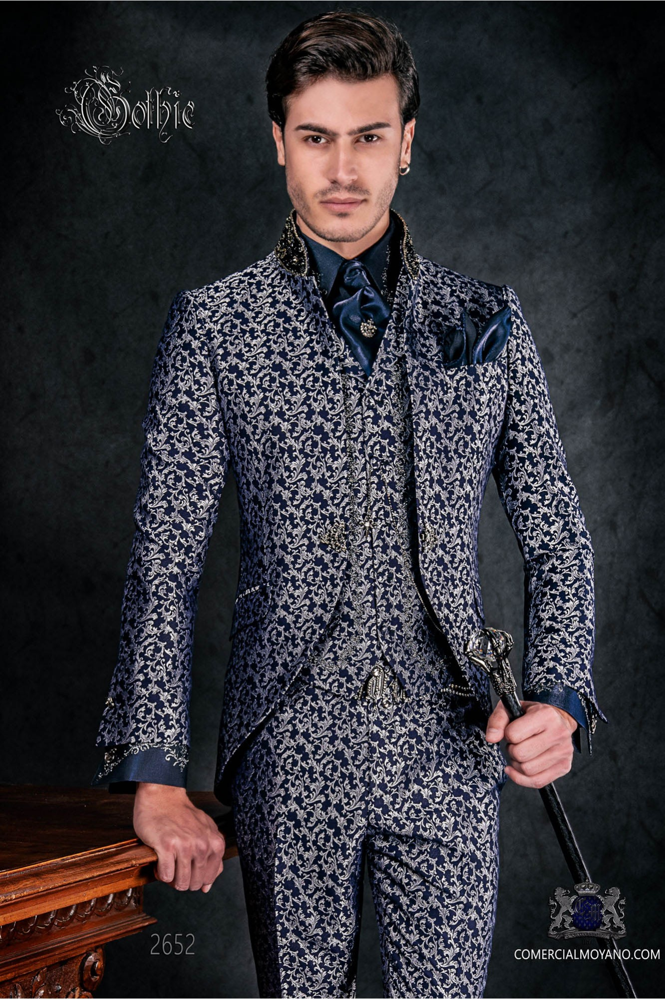Vintage Men wedding frock coat in blue and silver brocade fabric with Mao collar with black rhinestones