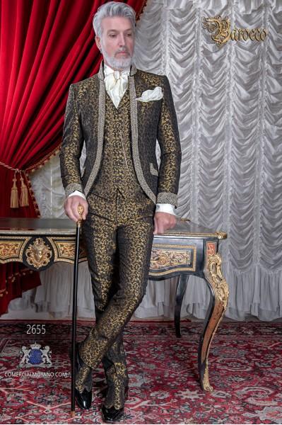 Traje de novio barroco, levita cuello Mao de época brocado negro y dorado con pedrería strass
