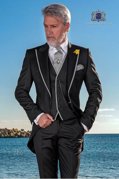 Italian bespoke black morning suit wool mix